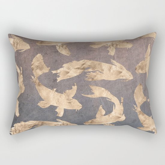 Koi at dusk - scratched leather Rectangular Pillow