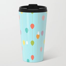 Fluffy bunnies and the rainbow balloons pattern Travel Mug