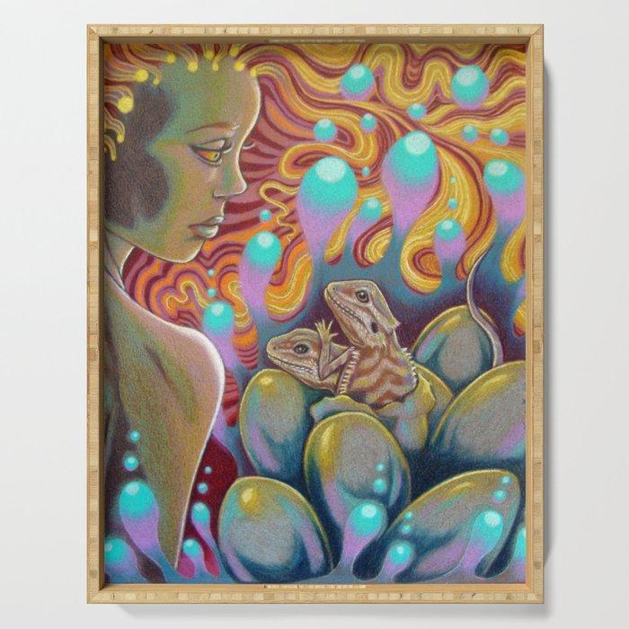 The Egg Maiden, Bearded Dragon Lizard Art Serving Tray