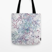 austin Tote Bags featuring Austin map by MapMapMaps.Watercolors