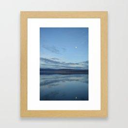 Klamath Lake with Moon reflecting Framed Art Print