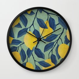 Vintage Lemon Branches on Mint Wall Clock