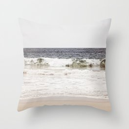 Neutral Ocean Landscape Photography, Grey Seascape Art, Gray Sea Beach Photo, Coastal Print Throw Pillow