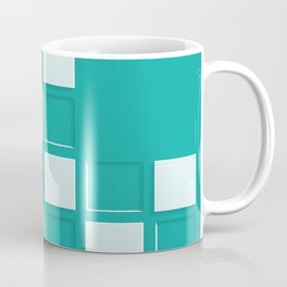 GREEN AND WHITE SQUARES Abstract Art Coffee Mug