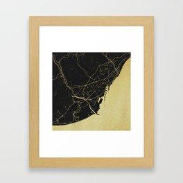 Barcelona Black and Gold Map Framed Art Print