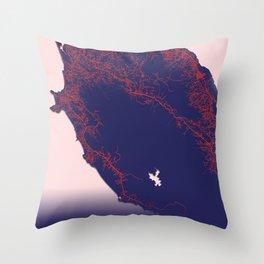 Freetown, Sierra Leone, Blue, White, City, Map Throw Pillow