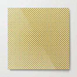 Nugget Gold and White Polka Dots Metal Print