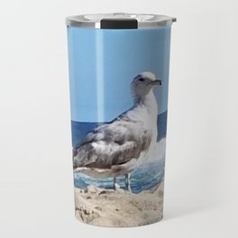 Seagull on the beach Travel Mug