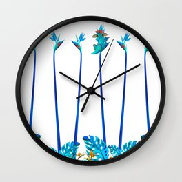 Cute Blue Dragon Tropical Floral Landscape Wall Clock