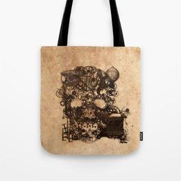 Vintage Steampunk Skull Brown Metal Gears Texture Tote Bag