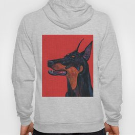 Eva the Dobermann on a Bloody red background Hoody