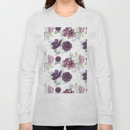 Succulents Deep Violet Lavender Pastel Green Lilac PatternSee Nature Magick for more pretty pastel c Long Sleeve T-shirt