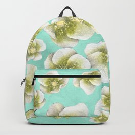Blue, yellow and white flowers Backpack
