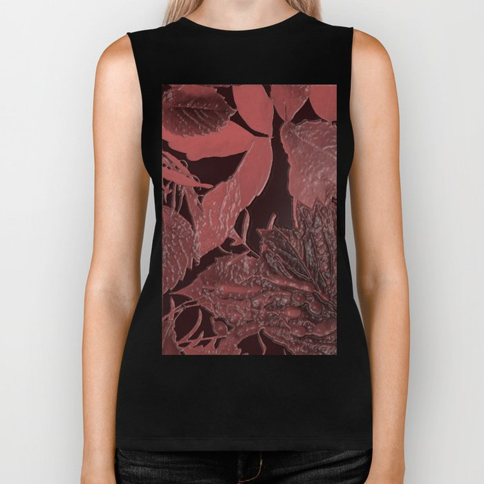 Burgundy leaves on black background abstract design vintage style Biker Tank