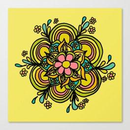 Flower Power Mandala Positive Vibes Flow Freely Canvas Print