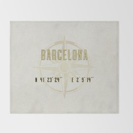 Barcelona - Vintage Map and Location Throw Blanket