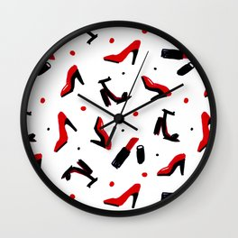Fashion In Red and Black Colors Wall Clock