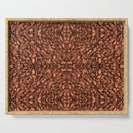 Brown Orange Copper Bronze Texture Motif Serving Tray