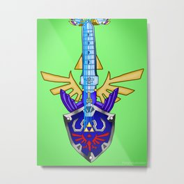 Zelda Guitar #3 - Hylian Shield & Master Sword (SS) Metal Print