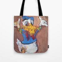 donald duck Tote Bags featuring Donald Duck diddy by Larry Caveney