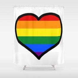 LGBT+ Rainbow Pride Heart Shower Curtain