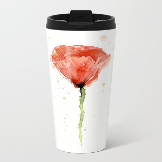 Poppy Watercolor Abstract Red Flower Metal Travel Mug