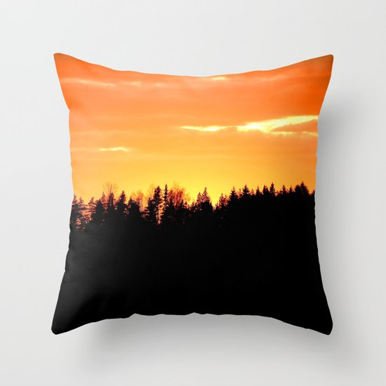 Forest Silhouette In Sunset Throw Pillow