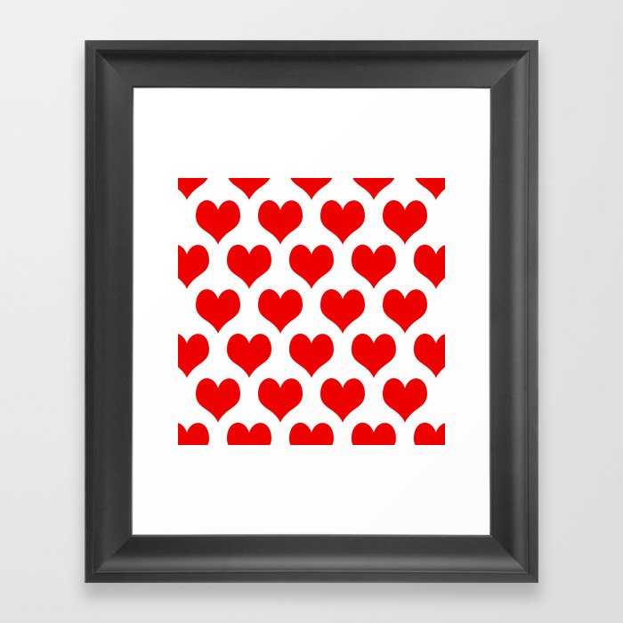 Holidaze Love Hearts Red Gerahmter Kunstdruck