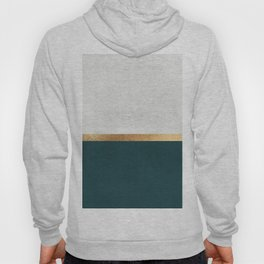 Deep Green, Gold and White Color Block Hoody