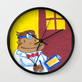 Doctor Ape on Yellow and Purple Wall Clock