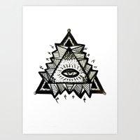 third eye Art Prints featuring Third Eye by Eco Juliet