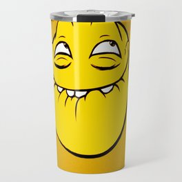 Meme Face Smiley Emoticon Yelow Funny Head Troll Travel Mug