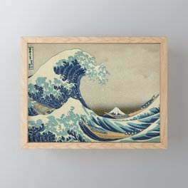 The Classic Japanese Great Wave off Kanagawa Print by Hokusai Framed Mini Art Print