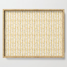 Buttercup Yellow Flower Blossoms on Butter Yellow Streaky Stripes Serving Tray