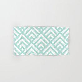 Turquoise Blue geometric art deco diamond pattern Hand & Bath Towel