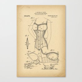1909 Patent Corset and bust form therefor Canvas Print