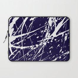 Modern navy blue white watercolor paint splatters Laptop Sleeve