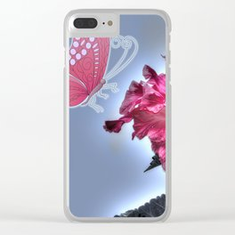 vinous flower and butterfly Clear iPhone Case