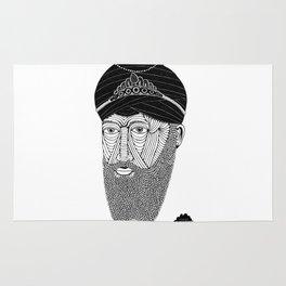 Sikh Guru with Fully Sick Beard and Bejeweled Turban Rug