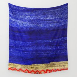 V24 New Blue Calm Traditional Moroccan Carpet Texture. Wall Tapestry