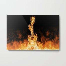 Flaming Guitar Metal Print
