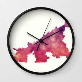 Cleveland Ohio city watercolor map in front of a white background Wall Clock