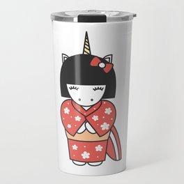 cute lovely cartoon unicorn geisha illustration Travel Mug