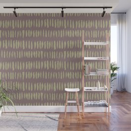 Earthy Green on Grape Vine Purple Parable to 2020 Color of the Year Back to Nature Bold Grunge Dash Wall Mural