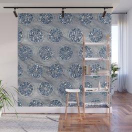 Indigo citrus diamond foil grey marble Wall Mural