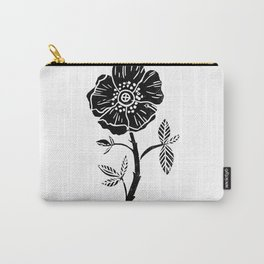 Linocut Rose floral single stem flower black and white printmaking Carry-All Pouch