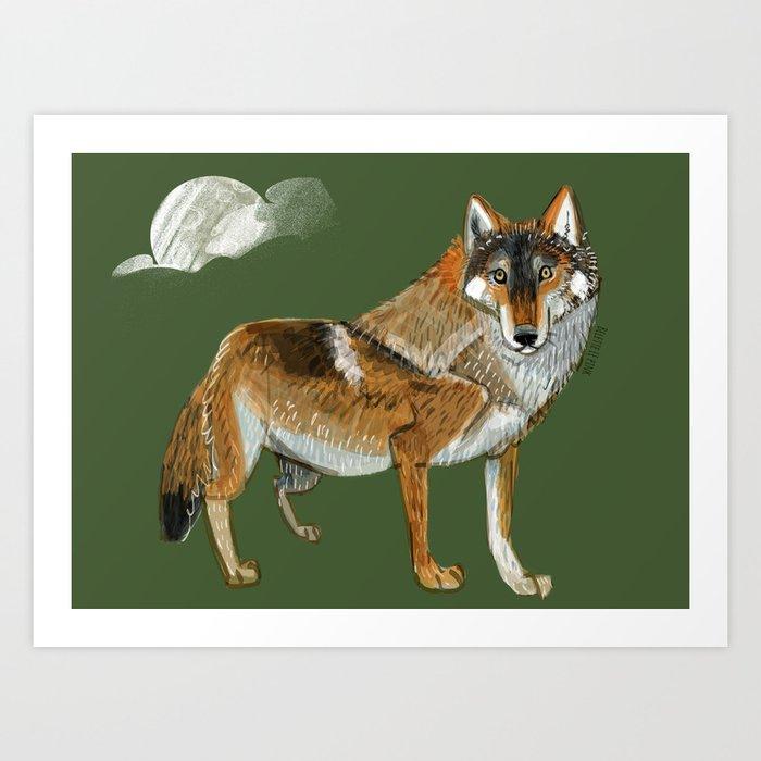 Wolves of the World: Carpathian wolf (Canis lupus lupus) (c) 2017 Art Print