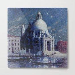 Vue de Venise, la nuit, Venice, Italy landscape painting by Ferdinand Du Puigaudeau Metal Print