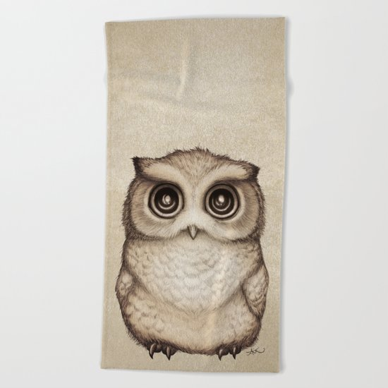 """""""The Little Owl"""" by Amber Marine ~ Graphite & Ink Illustration, (c) 2016 Beach Towel"""