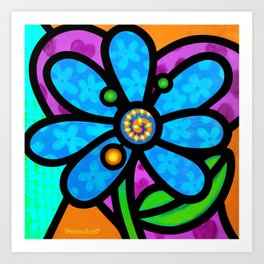 Pinwheel Daisy in Blue Art Print